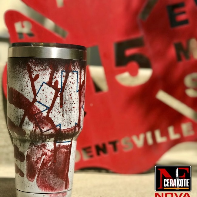 Mobile-friendly version of the 5th project picture. Graphite Black H-146Q, Distressed, Not Just Guns, Crimson H-221Q, Sky Blue H-169Q, Snow White H-136Q, Tumbler, EMS, Custom Tumbler Cup
