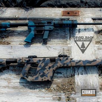 Cerakoted H-401 Jesse James Civil Defense Blue, H-185 Blue Titanium, H-140 Bright White, H-265 Flat Dark Earth And H-146 Graphite Black
