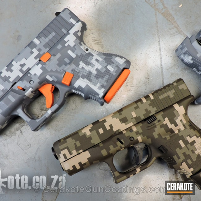 H-126 DeWalt Yellow, H-128 Hunter Orange, H-232 MagPul O.D. Green, H-199 Desert Sand, H-140 Bright White, H-231 MagPul Foliage Green and H-146 Graphite Black