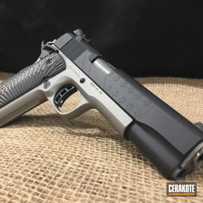 Cerakoted: Graphite Black H-146,Stainless H-152,MFR,Pistol,1911,Laser Engrave,Stars and Stripes