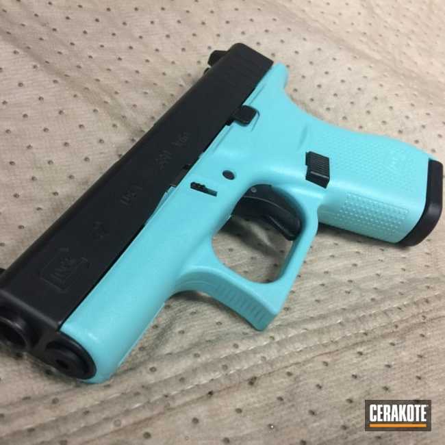 Mobile-friendly version of the 1st project picture. Graphite Black H-146Q, Glock, Two Tone, Pistol, Glock 42, Ladies, MFR, Robin's Egg Blue H-175Q