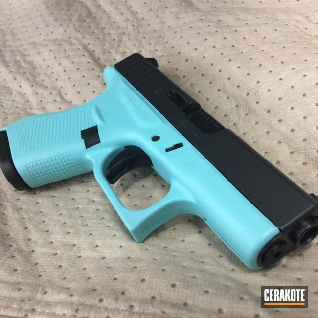 Mobile-friendly version of the 3rd project picture. Graphite Black H-146Q, Glock, Two Tone, Pistol, Glock 42, Ladies, MFR, Robin's Egg Blue H-175Q