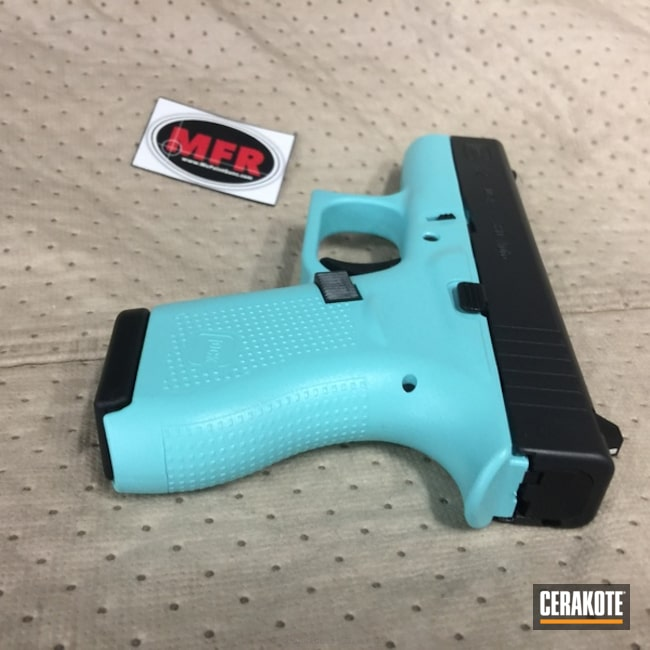 Smaller version of the 4th project picture. Graphite Black H-146Q, Glock, Two Tone, Pistol, Glock 42, Ladies, MFR, Robin's Egg Blue H-175Q