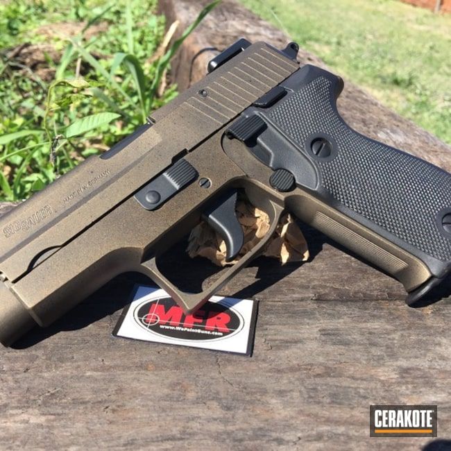 Cerakoted: Graphite Black H-146,Antique,Burnt Bronze H-148,MFR,Pistol,Sig Sauer