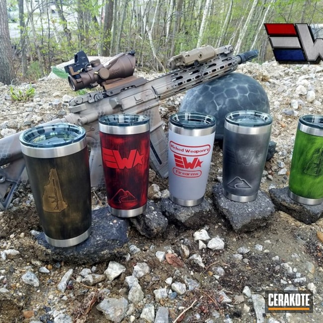 Cerakoted: Zombie Green H-168,New Hampshire,USMC Red H-167,wickedweaponry,Burnt Bronze H-148,Armor Black H-190,More Than Guns,Live Free or Die,Custom Tumbler Cup