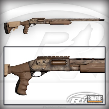Cerakoted H-226 Patriot Brown, H-235 Coyote Tan, H-242 Hidden White And H-190 Armor Black