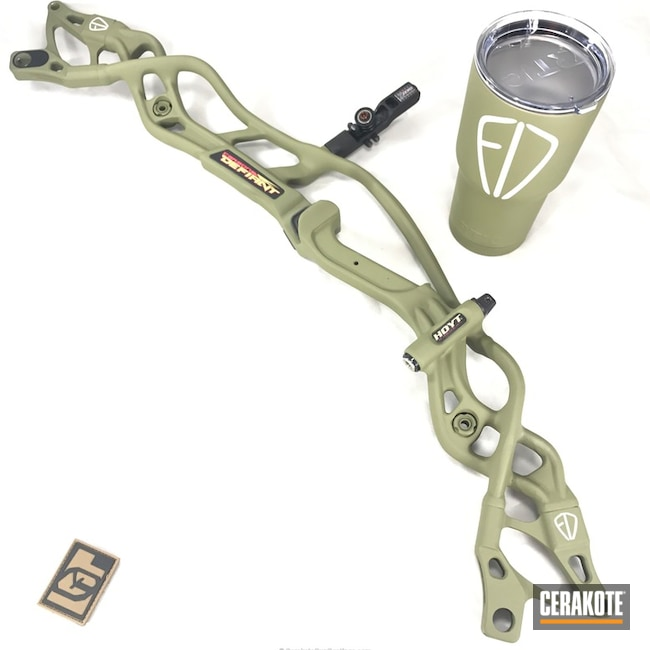 Cerakoted: Bright White H-140,HOYT,More Than Guns,Bow,Noveske Bazooka Green H-189,Custom Tumbler Cup