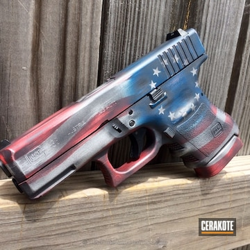 Cerakoted H-151 Satin Aluminum, H-234 Sniper Grey, H-169 Sky Blue And H-216 Smith & Wesson Red