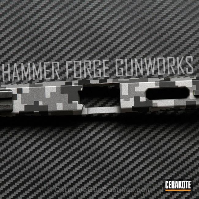 Cerakoted: Glock 19,Digicam,Digital Camo,Graphite Black H-146,Tungsten H-237,Stippled,Pistol,Titanium H-170,Glock,Urban Camo,Loki Tactical