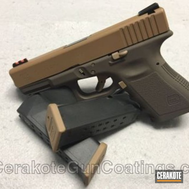 Mobile-friendly version of the 1st project picture. Glock, Glock 19, Pistol, 9mm, Copper Brown H-149Q, Chocolate Brown H-258Q