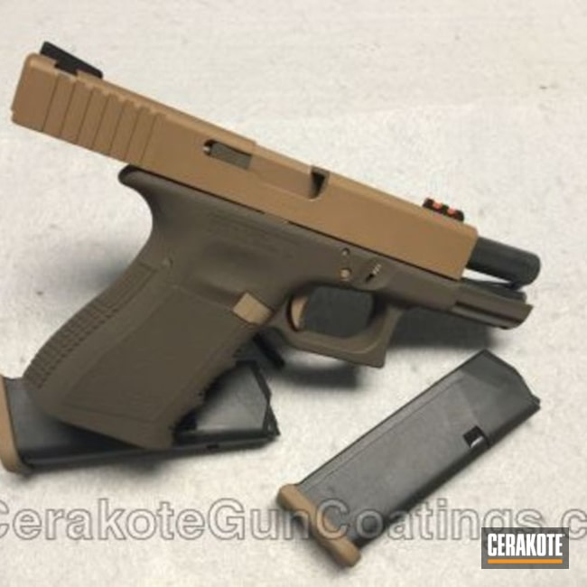 Mobile-friendly version of the 3rd project picture. Glock, Glock 19, Pistol, 9mm, Copper Brown H-149Q, Chocolate Brown H-258Q