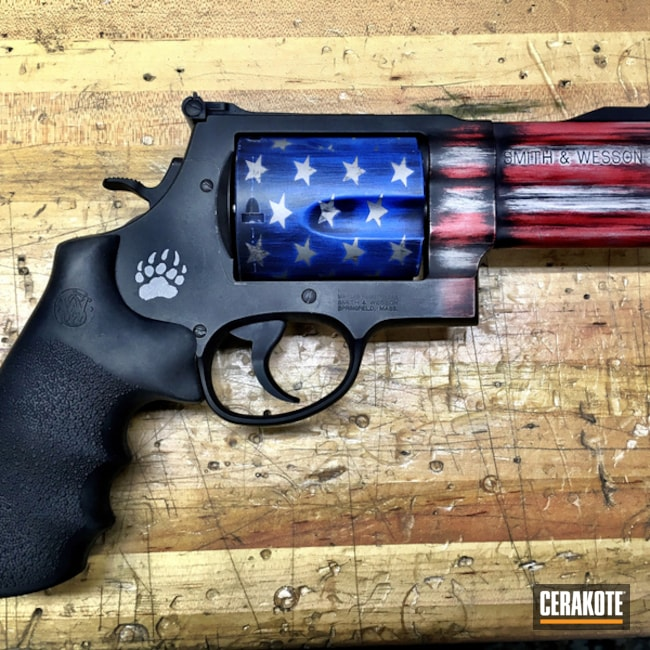 Cerakoted: NRA Blue H-171,Old Glory,S&W 500,Revolver,Wheel Gun,USMC Red H-167,American Flag,Titanium H-170