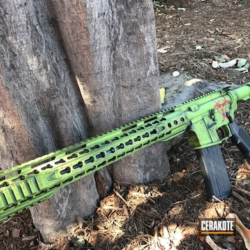Cerakoted H-168 Zombie Green, H-216 Smith & Wesson Red And H-146 Graphite Black