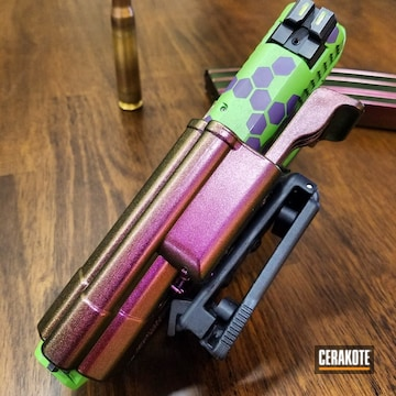 Cerakoted H-168 Zombie Green, H-197 Wild Purple And H-300 High Gloss Armor Clear
