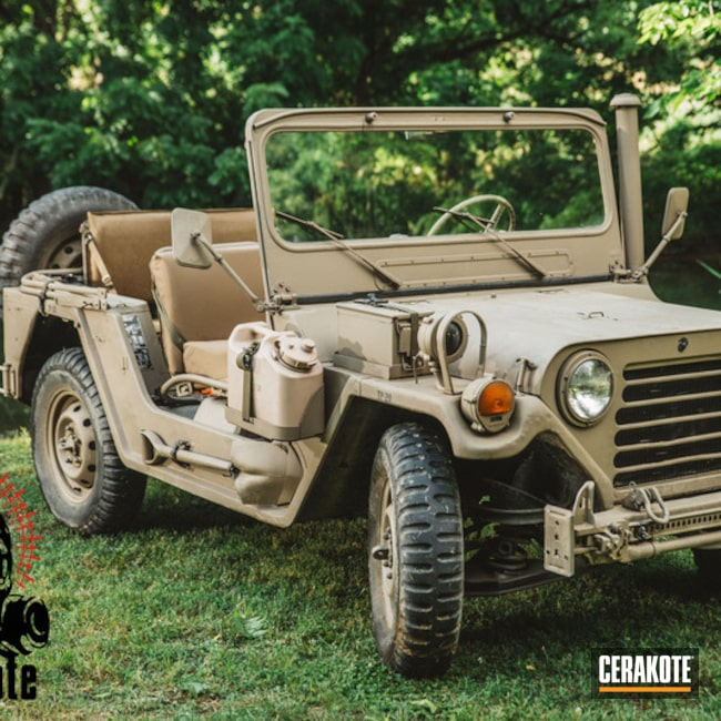 Mobile-friendly version of the 1st project picture. Not Just Guns, Flat Dark Earth C-246Q, JEEP, Truck, M151, Bumper to Bumper Cerakote