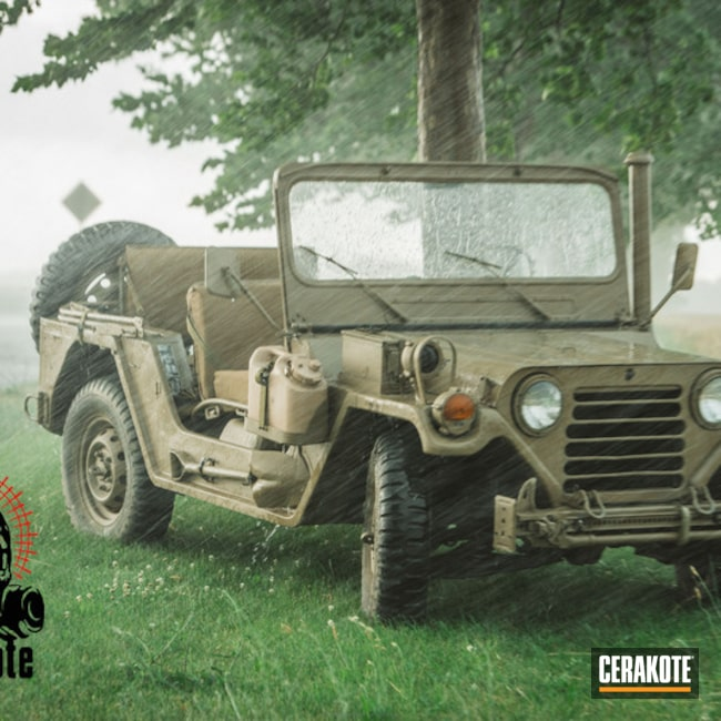 Big version of the 10th project picture. Not Just Guns, Flat Dark Earth C-246Q, JEEP, Truck, M151, Bumper to Bumper Cerakote