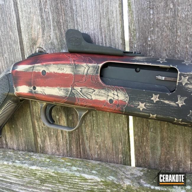 Cerakoted: Skull,Shotgun,Graphite Black H-146,Distressed,Desert Sand H-199,Crimson H-221,American Flag,Mossberg,Pump-action Shotgun,Mossberg 500