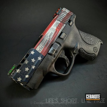 Cerakoted H-146 Graphite Black, H-216 Smith & Wesson Red And H-171 Nra Blue