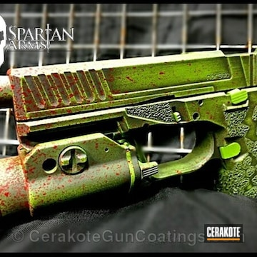 Cerakoted H-216 Smith & Wesson Red, H-168 Zombie Green And H-234 Sniper Grey