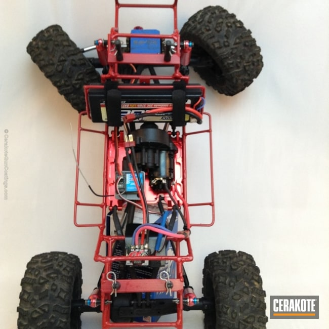 Mobile-friendly version of the 3rd project picture. Not Just Guns, RC Car Parts Cerakote Coated, Crimson H-221Q, Car Frame