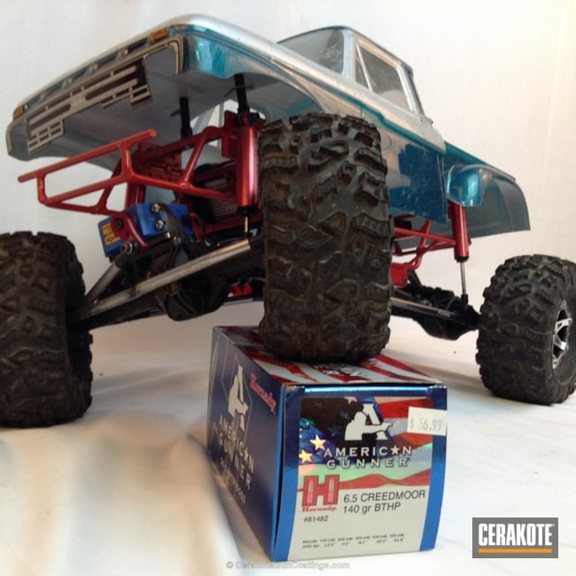 Smaller version of the 3rd project picture. Not Just Guns, RC Car Parts Cerakote Coated, Crimson H-221Q, Car Frame