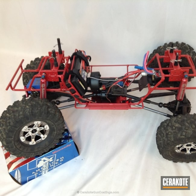 Mobile-friendly version of the 9th project picture. Not Just Guns, RC Car Parts Cerakote Coated, Crimson H-221Q, Car Frame
