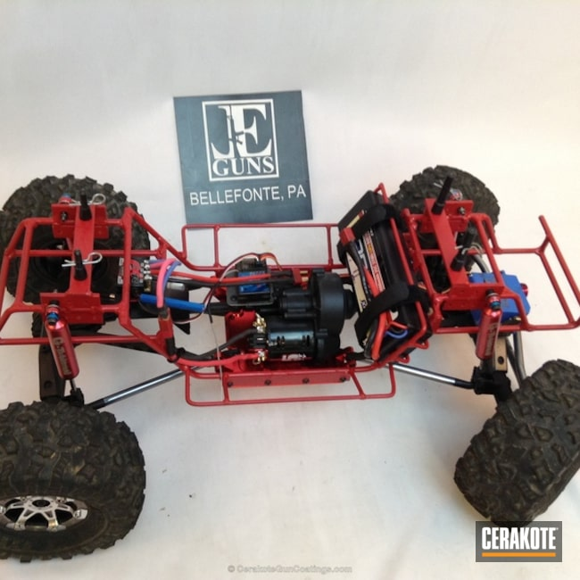 Mobile-friendly version of the 11th project picture. Not Just Guns, RC Car Parts Cerakote Coated, Crimson H-221Q, Car Frame