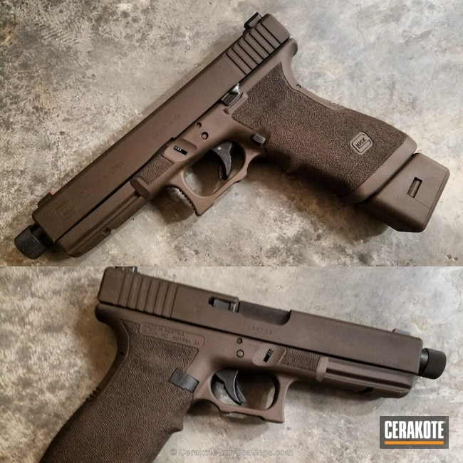 Cerakoted: 10mm,BARRETT® BRONZE H-259,Stippled,Pistol,3 Gun,Glock 10mm,Glock,Glock 20,Daily Carry,EDC,Bear Gun
