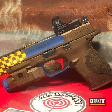 Cerakoted H-144 Corvette Yellow With H-171 Nra Blue, H-148 Burnt Bronze And H-167 Usmc Red