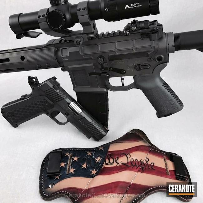 Cerakoted: Battleworn,Holster,Armor Black H-190,Pistol,Tactical Rifle,1911,Agency Arms,Nighthawk Custom,Matching Set