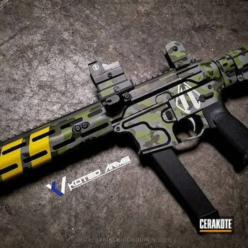 Cerakoted H-190 Armor Black, H-144 Corvette Yellow, H-168 Zombie Green, H-264 Mil Spec Green, H-262 Stone Grey And H-242 Hidden White