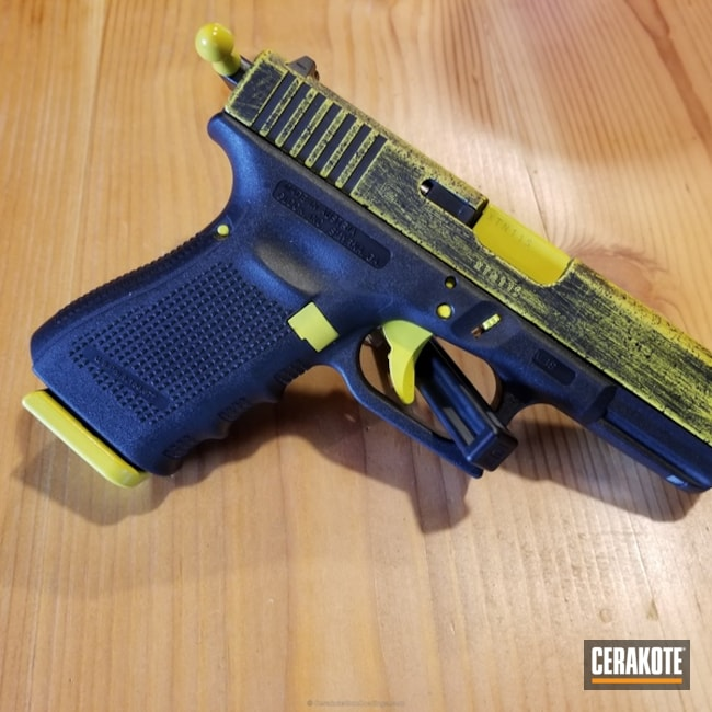 Mobile-friendly version of the 1st project picture. Glock, Distressed, Pistol, Armor Black H-190Q, Electric Yellow H-166Q