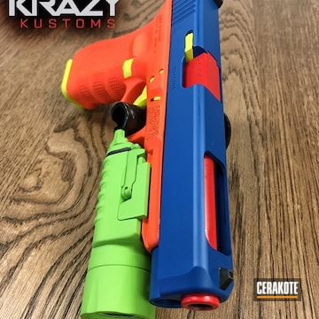 Cerakoted H-128 Hunter Orange, H-168 Zombie Green, H-166 Electric Yellow, H-171 Nra Blue And H-167 Usmc Red