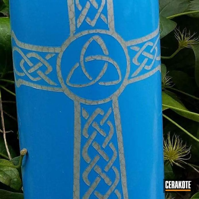 Smaller version of the 3rd project picture. Not Just Guns, Aluminum Water Bottle, Savage Stainless H-150Q, Sea Blue H-172Q, Crushed Silver H-255Q, Celtic Cross, High Gloss Armor Clear H-300Q