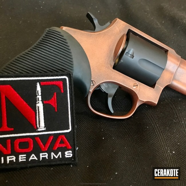 Smaller version of the 4th project picture. Graphite Black H-146Q, Taurus, Distressed, Custom Mix, Revolver, Custom Copper, Burnt Bronze H-148Q, Copper, USMC Red H-167Q, Gold H-122Q