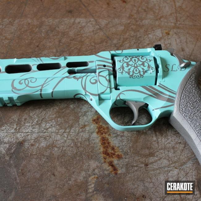 Cerakoted: Scroll Pattern,Chiappa Rhino,Robin's Egg Blue H-175,Revolver,Wheel Gun,Rhino,Titanium H-170,Ladies
