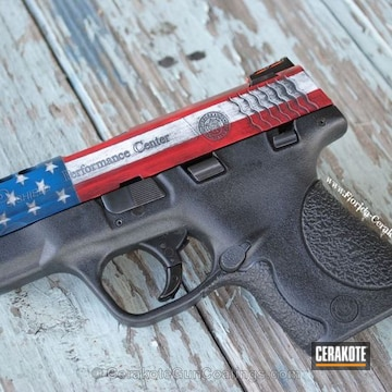 Cerakoted H-216 Smith & Wesson Red, H-140 Bright White, H-169 Sky Blue And H-146 Graphite Black