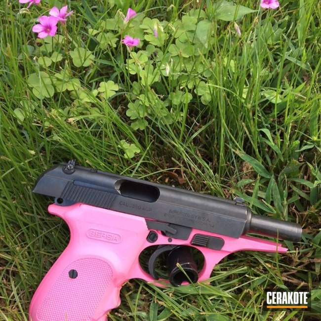 Mobile-friendly version of the 1st project picture. Bersa, Two Tone, Pistol, Ladies, Prison Pink H-141Q, .380 ACP, Bersa Thunder 380cc