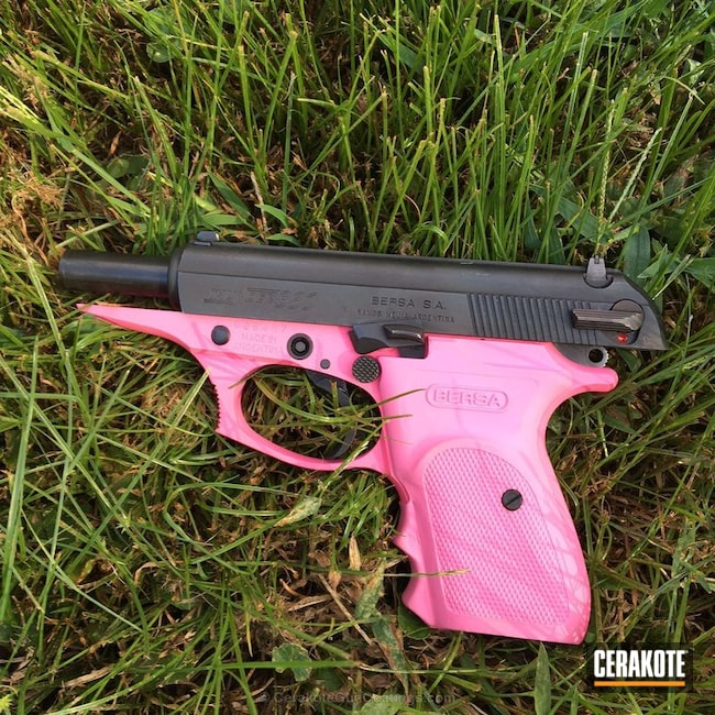 Mobile-friendly version of the 3rd project picture. Bersa, Two Tone, Pistol, Ladies, Prison Pink H-141Q, .380 ACP, Bersa Thunder 380cc
