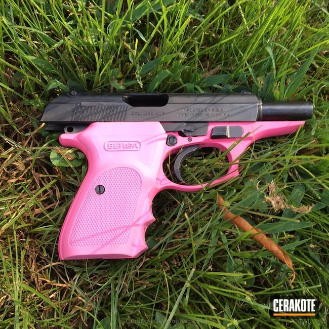 Mobile-friendly version of the 5th project picture. Bersa, Two Tone, Pistol, Ladies, Prison Pink H-141Q, .380 ACP, Bersa Thunder 380cc
