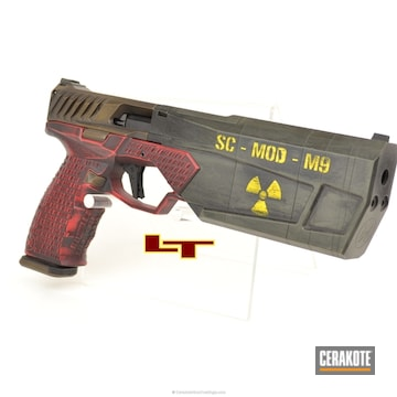 Cerakoted H-216 Smith & Wesson Red, H-148 Burnt Bronze, H-144 Corvette Yellow And Hir-146 Gen Ii Graphite Black