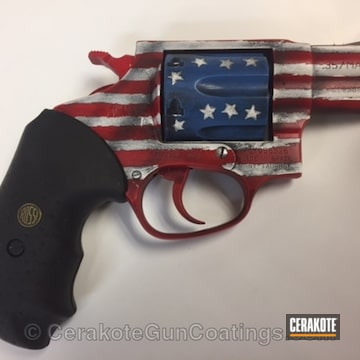 Cerakoted H-146 Graphite Black, H-216 Smith & Wesson Red, H-171 Nra Blue And H-136 Snow White