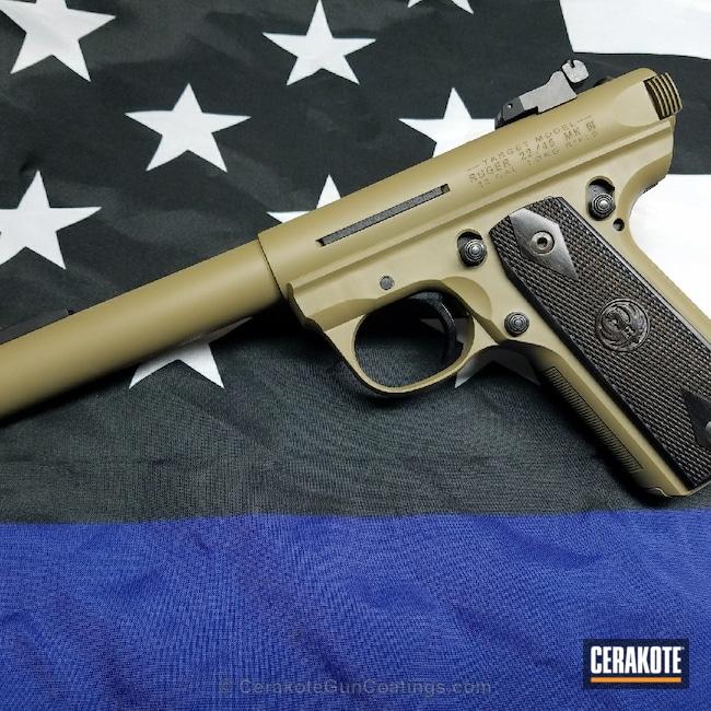 Cerakoted: Ruger,Two Tone,Ruger Mark III Target,Pistol,Gen II Coyote Tan HIR-235
