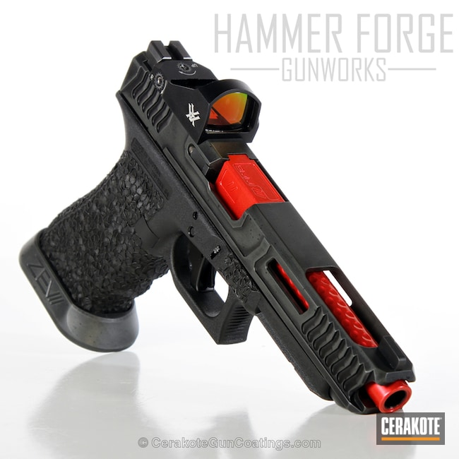 Cerakoted: Battleforged,Glock 34,USMC Red H-167,Pistol,SIG™ DARK GREY H-210,Loki Tactical,GunCandy,Battleworn,Graphite Black H-146,Glock,Competition Gun,Handguns,Race Gun