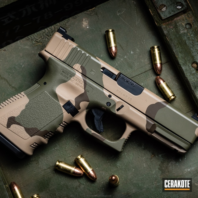 Cerakoted: Glock 19,FS BROWN SAND H-30372,HAZEL GREEN H-204,Patriot Brown H-226,Camo,Pistol,Glock,Tricolor