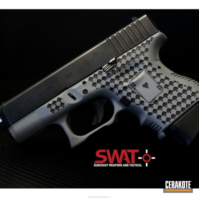 Cerakoted: 9mm,SHOT SHOW,Poker,Blackjack,SMITH & WESSON® GREY H-214,Pistol,Glock,Laser Engrave,Glock 33