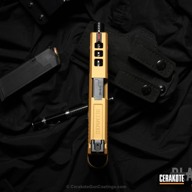 Cerakoted: Custom,Two Tone,Stippled,Pistol,Glock,Gold H-122