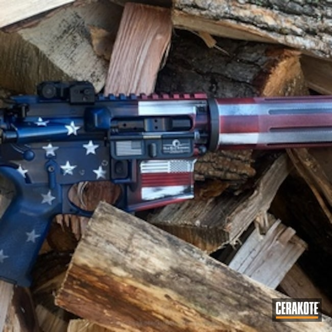 Thumbnail version of the 2nd project picture. American Flag, AR-15, Smith & Wesson Red H-216, Bright White H-140Q, Kel-Tec Navy Blue H-127Q, Distressed American Flag