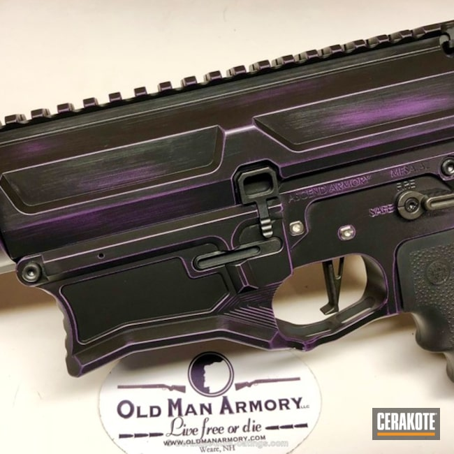 Mobile-friendly version of the 3rd project picture. Graphite Black H-146Q, Distressed, 6.5 Creedmoor, Battleworn, AR-15, Tactical Rifle, Wild Purple H-197, AR-10