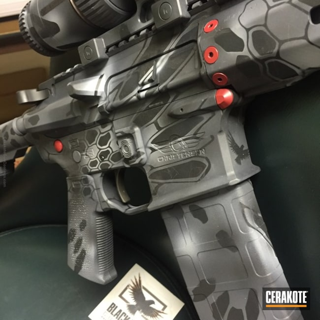 H-190 Armor Black with H-184 Glock Grey, H-213 Battleship Grey and H-216 Smith & Wesson Red